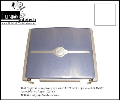 """Dell Inspiron 1100 5100 5150 14.1"""" LCD Back Top Cover Lid Plastic Assembly w/ Hinges - X3160"""