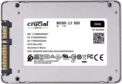 "Crucial MX500 250GB 3D NAND SATA 2.5"" 7mm Internal SSD"