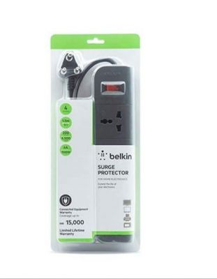 Belkin 4-Socket Surge Protector Universal Socket with 5ft Heavy Duty Cable (Grey)