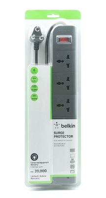 Belkin 6-Socket Surge Protector Universal Socket with 6.5ft Heavy Duty Cable (Grey)