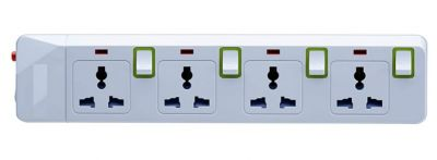 Spike Guard 4 Way Socket with Individual Switch